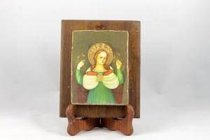 Pictografia su calce in supporto legno vecchio, gesso colato e foglia oro, Beata Vergine delle Grazie.