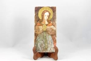 Pictografia su calce con gesso colato e foglia oro Beata Vergine delle Graie.