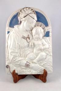 Bassorilievo in Ceramica di Faenza raffigurante Madonna con bambino.