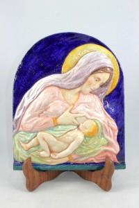 Bassorilievo in Ceramica di Faenza raffigurante Madonna che allatta.