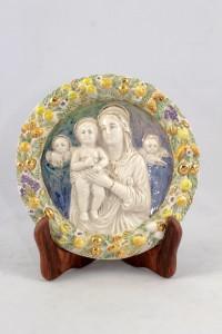 Bassorilievo tondo in Ceramica di Faenza raffigurante Madonna con bambino.