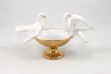 Acquasantiera artistica in Ceramica di Faenza raffigurante colombe della pace.