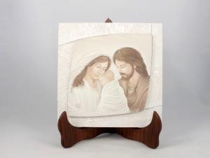 Quadro con cornice effetto stucco Sacra Famiglia.