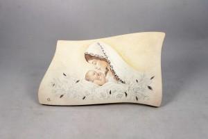 Quadro sagomato piccolo da appoggio o da parete Madonna con bambino.