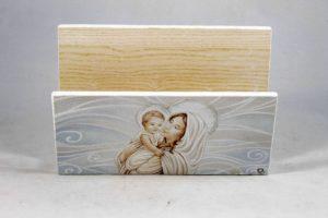 Quadro porta lettere ed appendi chiavi Madonna con bambino.