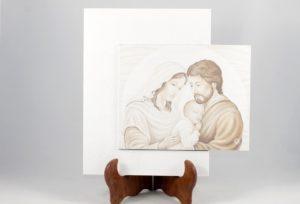 Quadro cornice sfalsata Sacra Famiglia colorato.