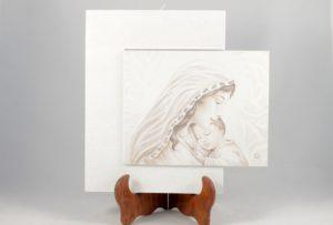 Quadro cornice sfalsata Madonna con bambino.