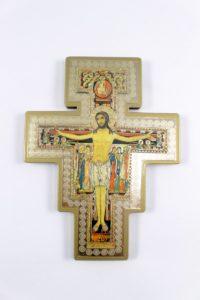 Crocifisso San Damiano su legno massello in serigrafia.