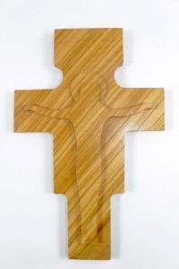 Crocifisso in legno di ulivo moderno.