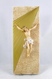 Crocifisso in pietra rigenerata foglia oro.