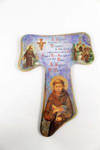 Crocifisso Tau con serigrafia esortazione San Francesco.